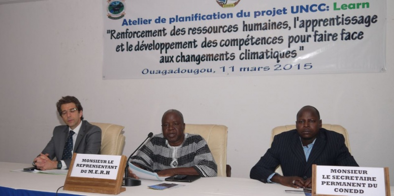 M. Marc Rubin, head of UNICEF in Burkina Faso, M. Salomon Dilema, Technical Advisor to the Minister of Environment of Burkina, and Pamoussa Ouedraogo, Technical Coordinator of Programmes at SP-CONEDD
