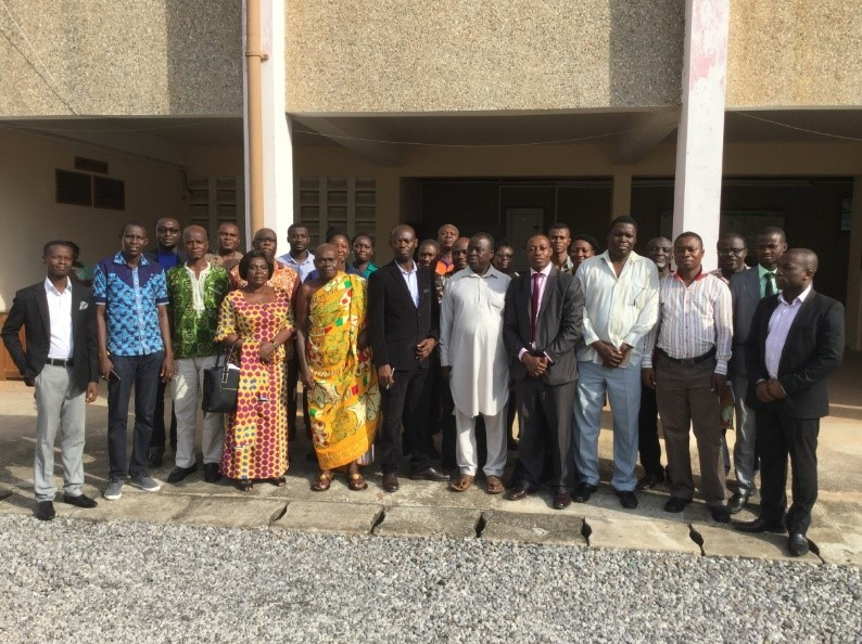 Participants in a group photo at the Southern Ghana regional validation of the Climate and Green Economy Learning Strategy, in Kumasi.