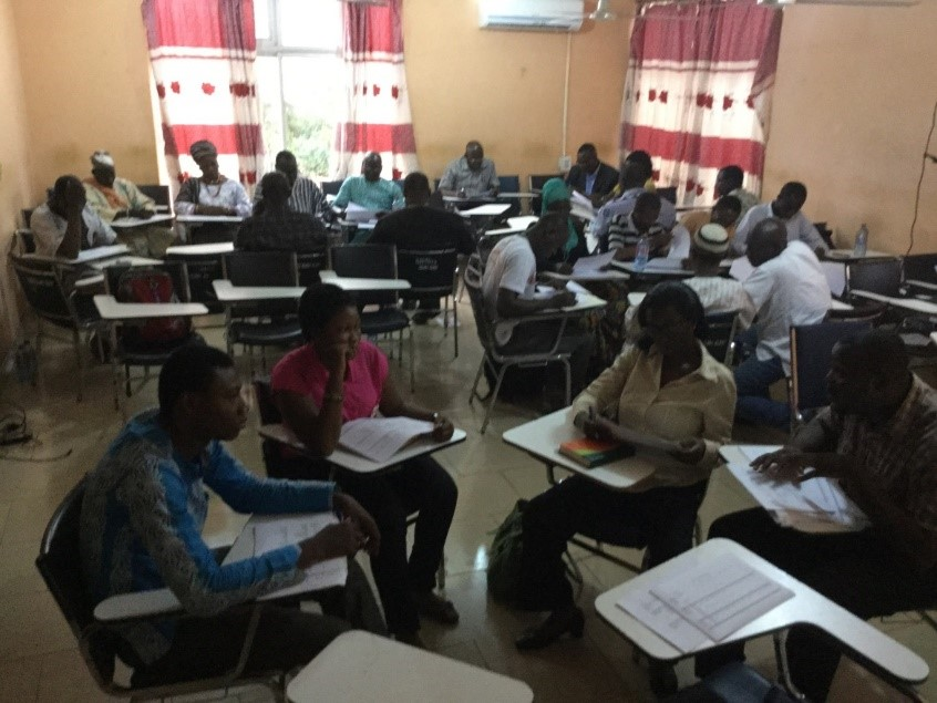 Participants gathered in various groups to hold discussions on the subject matter and offer ideas to the development of the National Climate and Green Economy Learning Strategy at the workshop in Tamale.
