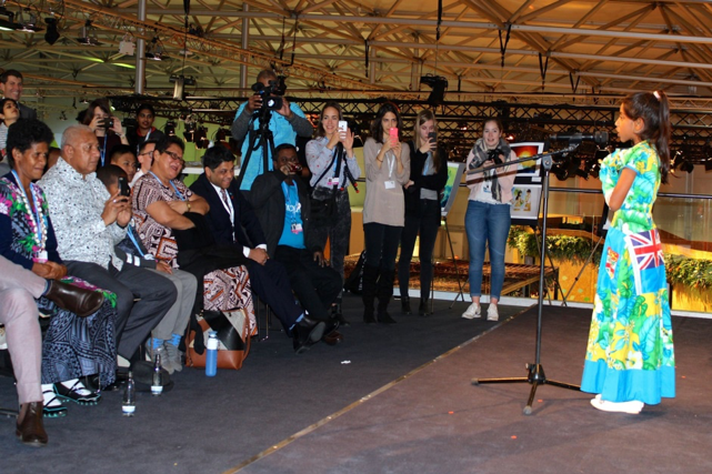 Shalvi Shakshi delivering her speech at the Youth and Future generations Day in Bonn, Germany.
