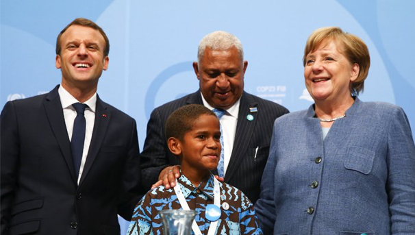 Pictured: French President, Emmanuel Macron, German Chancellor, Angela Merkel, and the COP23 President, Voreqe Bainimarama